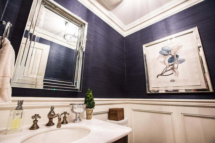 Lovely Navy Blue Grasscloth In Contemporary Bathroom