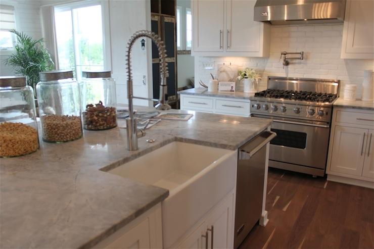 Alpine White Granite Transitional Kitchen The Fat