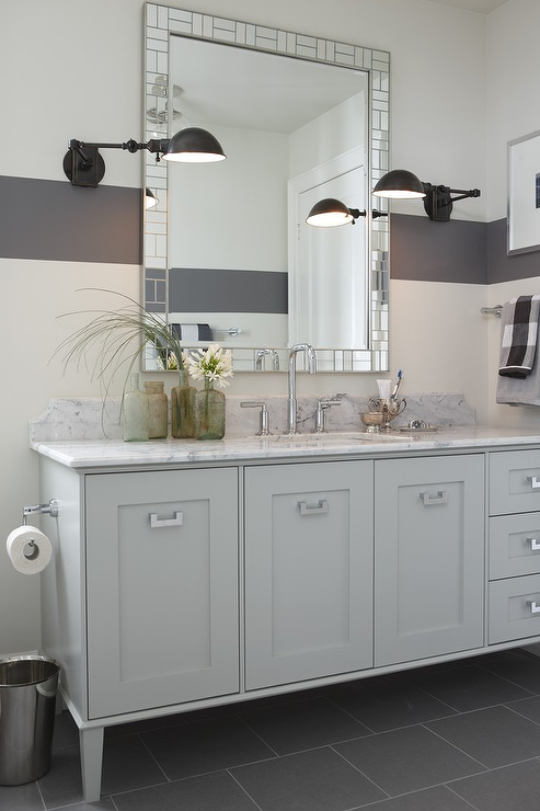 Light Gray Vanity Contemporary Bathroom Para Paints
