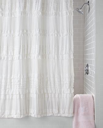 White Cotton Shower Curtain Ruffle Curtain Menzilperde Net