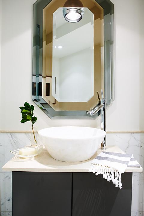 amazing marble countertop sink design and modern faucet.htm off set faucet contemporary bathroom sarah richardson design  off set faucet contemporary