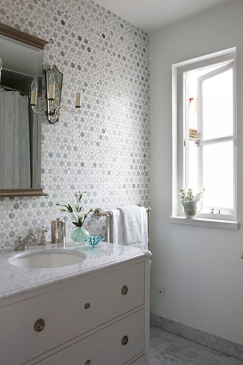 Sunflower Carrara Thassos Tile Transitional bathroom Sarah