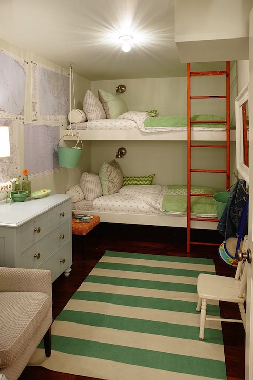 Floating bunk beds contemporary girl 39 s room sarah for Narrow width bunk beds