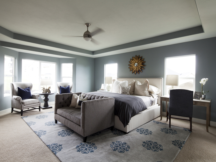 Tray Ceiling in Bedroom - Transitional - bedroom - Alice Lane Home