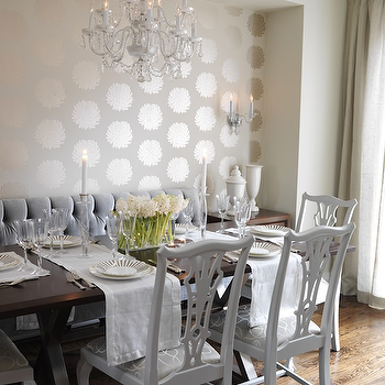White Chippendale Chairs View Full Size Stunning Dining Room With Romo Wallpapered Alcove