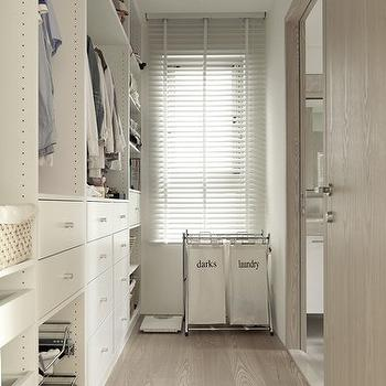 Chic Narrow Closet Design With Floor To Ceiling Closet Components As