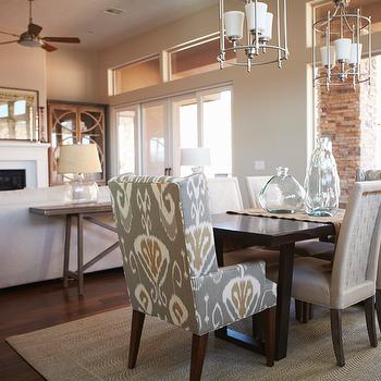 Ikat Wingback Chair, Transitional, dining room, Benjamin Moore Revere Pewter, Alice Lane Home