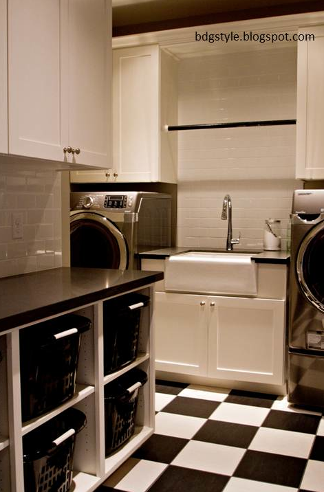 Fantastic Laundry Room With Black And White Checkerboard Tiled Floors Cabinetry