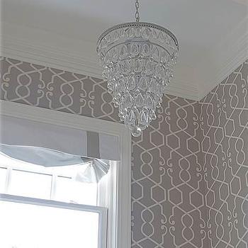 Gray Trellis Wallpaper, Transitional, bathroom, Belmont Design Group