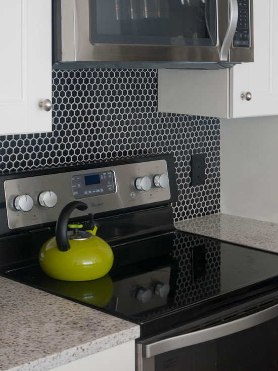 Black Hex Tile Contemporary Kitchen Benjamin Moore