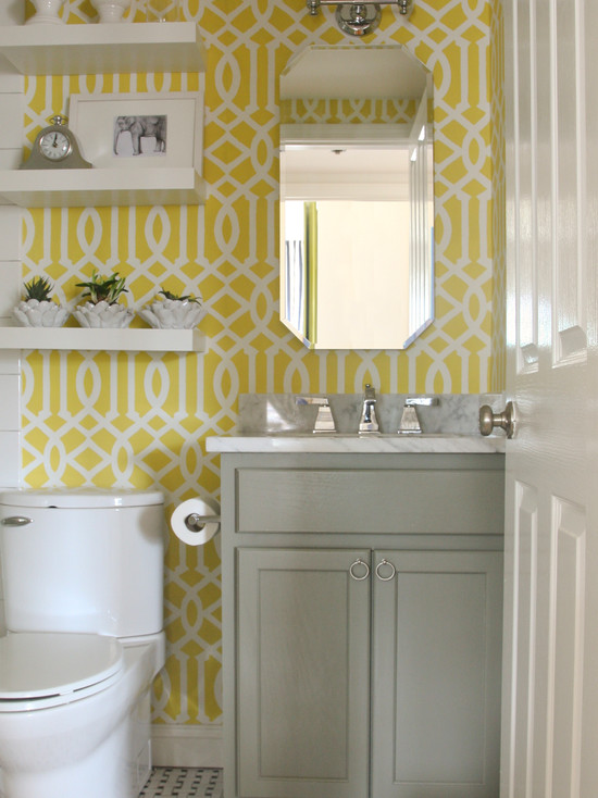 Imperial trellis stencil contemporary bathroom for Bathroom decor yellow and gray