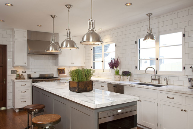 Gray Center Island Transitional Kitchen Dunn Edwards