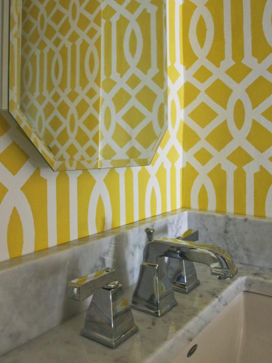 Imperial Trellis Stencil Contemporary Bathroom