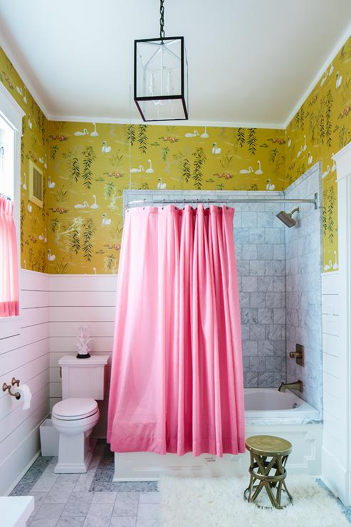 pink and yellow shower curtain. Pink Shower Curtain  Eclectic Bathroom Sherwin Williams Creamy