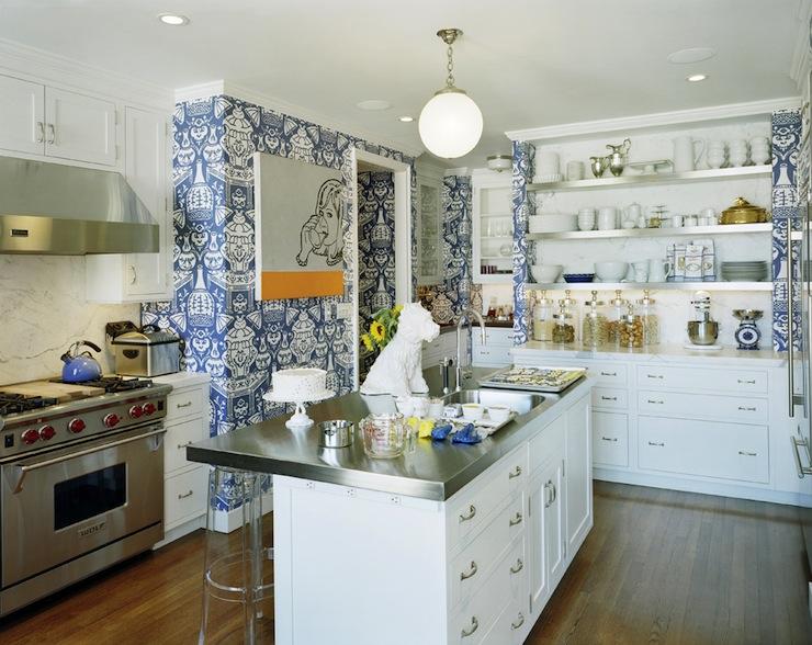 David Hicks The Vase Wallpaper Eclectic Kitchen Steven Sclaroff