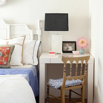 Desk as Nightstand, Contemporary, bedroom, Kate Collins Interiors