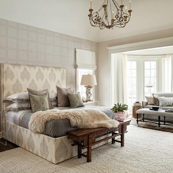 Rivets Wallpaper, Transitional, bedroom, Andrea Goldman Design