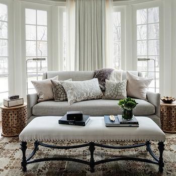 Gray Linen Sofa, Transitional, bedroom, Andrea Goldman Design