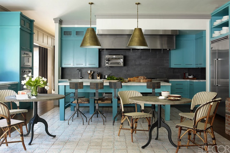 Turquoise cabinets contemporary kitchen elle decor for Elle decor kitchen ideas