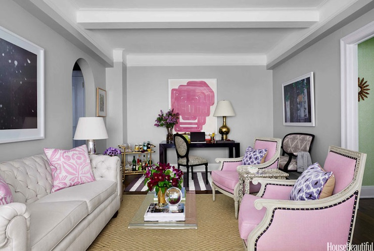 Pink And Gray Living Room Contemporary Living Room