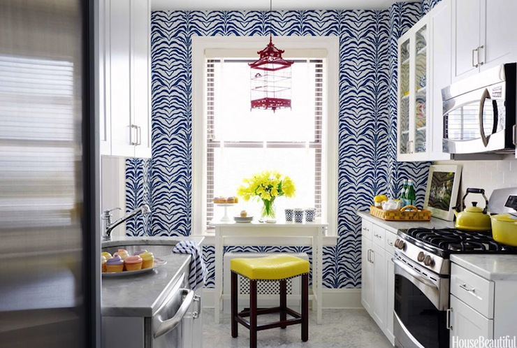 Zebrine Wallpaper Contemporary Kitchen House Beautiful