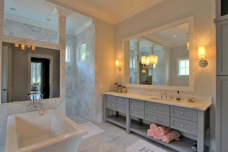 White And Gray Master Bathroom Design Transitional