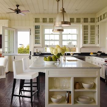 Slipcovered Bar Stools, Cottage, kitchen, Sawyer Berson