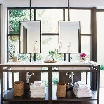Ceiling Mounted Bathroom Mirrors Design Ideas - Suspended bathroom vanity