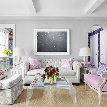 Pink tufted sofa french living room brandon barre for Living room ideas pink and grey