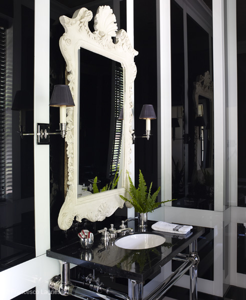Black And White Powder Room: Black Board And Batten