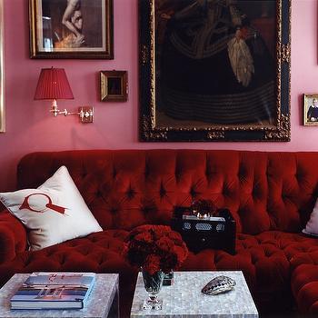 Red Velvet Sectional, Eclectic, living room, Miles Redd