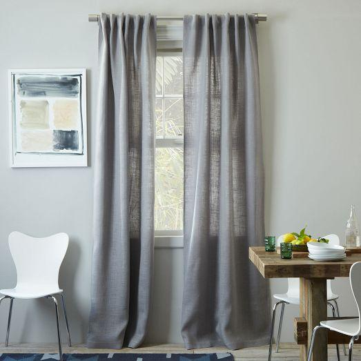Burlap curtain platinum west elm for West elm window treatments