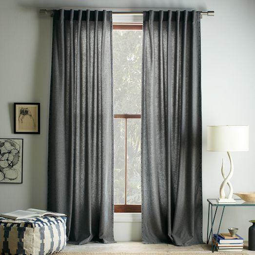 Studded wool curtain heather gray west elm for West elm window treatments