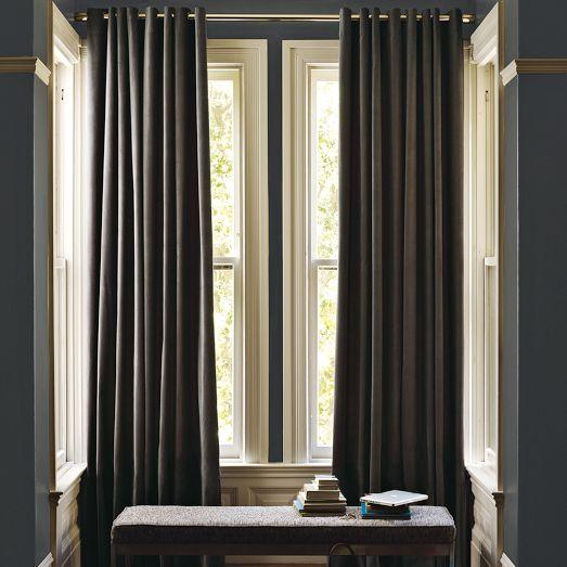 Velvet grommet curtain iron west elm for West elm window treatments