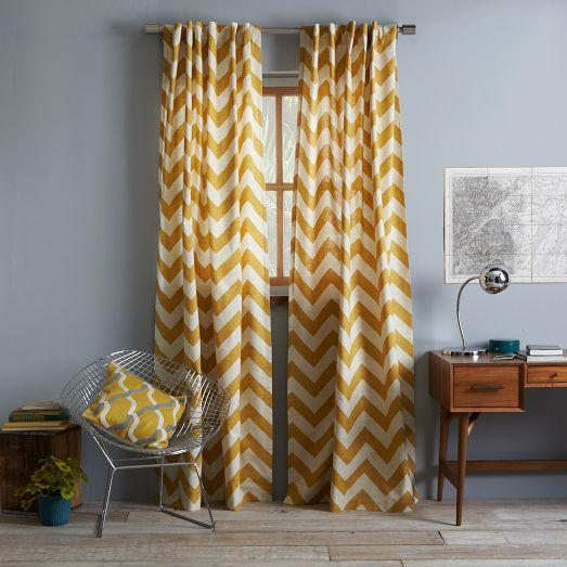 Cotton canvas zigzag curtain maize west elm for West elm window treatments