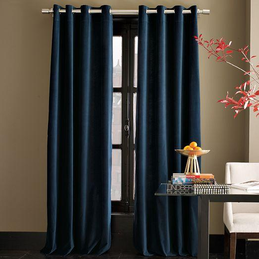 Velvet Grommet Curtain Regal Blue West Elm