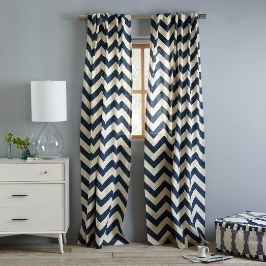 Cotton Canvas Zigzag Curtain Blue Lagoon | west elm - Black And White Velvet Chevron Printed Curtains
