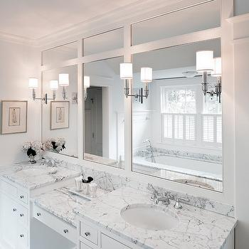 His and Her Vanities Built In Make Up Vanity Design Ideas
