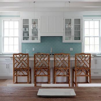 White And Turquoise Kitchen Cottage Kitchen Coastal