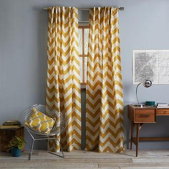 Cotton Canvas Zigzag Curtain Maize, west elm