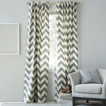 Cotton Canvas Zigzag Curtain Feather Gray, west elm