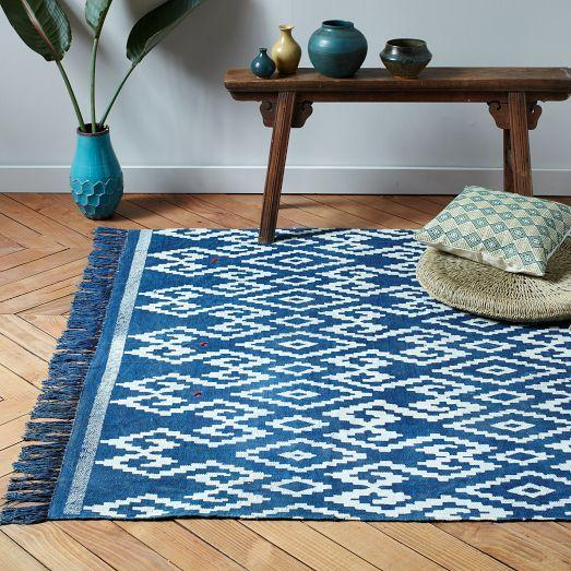 West Elm Blue And White Rug