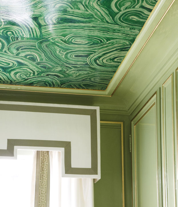 Malachite Ceiling Mural Eclectic Entrance Foyer
