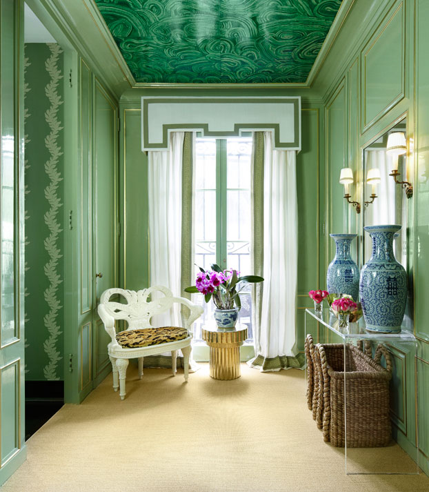 Malachite Mural Eclectic Entrance Foyer Farrow