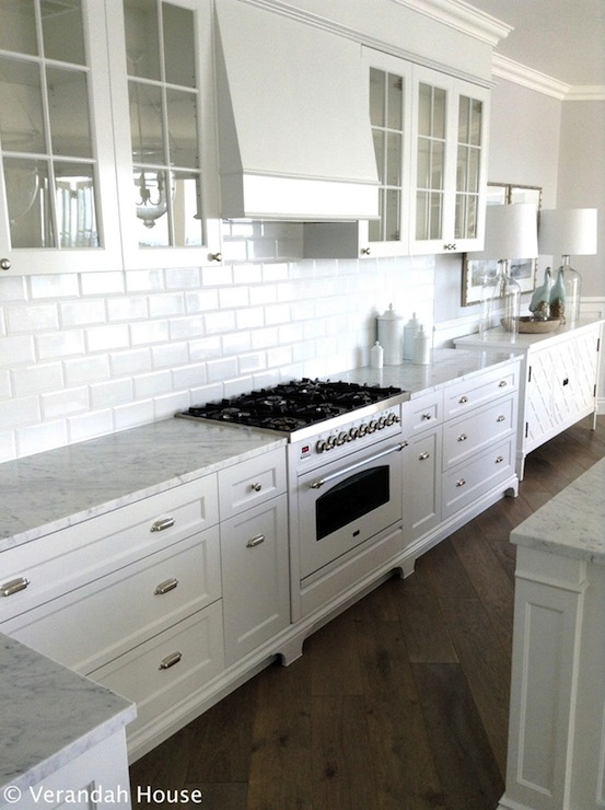 Beveled Carrara Marble Subway Tile Design Ideas