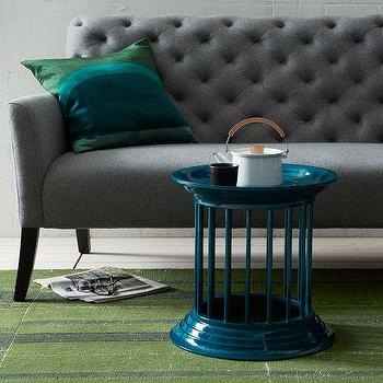 Gates Lacquer Side Table, Thai Blue, west elm