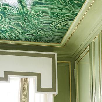 Malachite Ceiling Mural, Eclectic, entrance/foyer, Farrow & Ball Saxon Green, Veranda