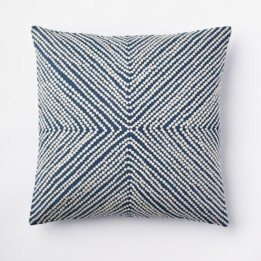 Diamond Dot Crewel Pillow Cover - Blue Lagoon - west elm