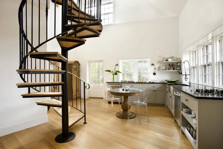 Spiral Staircase Contemporary Kitchen Meyer And Meyer