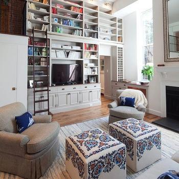 Bookcase Ladder, Transitional, living room, Nastasi Vail Design
